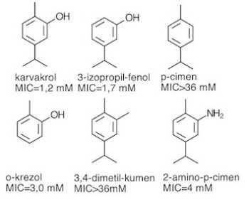 karvakrol u odnosu na srodne spojeve